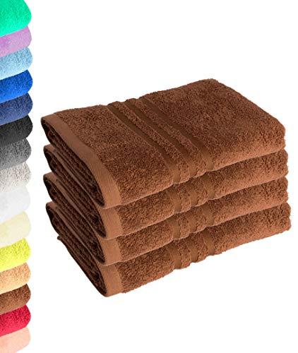 Lavea Juego de 4 toallas de mano (50 x 100 cm), color marrón