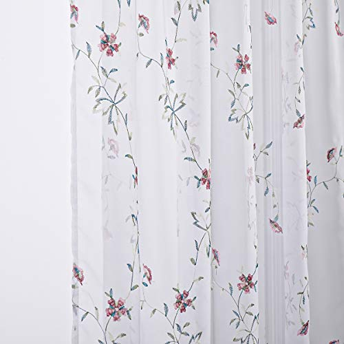 Taisier Home Red Flower Buds Sheer Curtains for Living Room Floral Embroidery 95 inch Long Rustic Voile Window Curtain Drpaes for Bedroom Rod Pocket 2 Panels