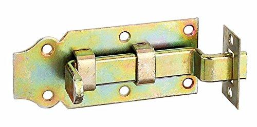 GAH-Alberts 134419 Türriegel mit flachem Griff, gerade, mit befestigter Schlaufe, galvanisch gelb verzinkt, 120 x 44 mm