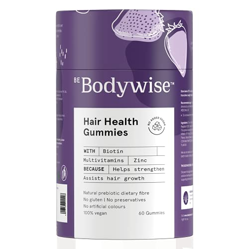 Bodywise Biotin Hair Gummies For Women   No Added Sugar   Biotin Supplements for Healthy Hair   Hair Vitamin   Reduce Hair fall with Delicious Strawberry Flavoured Gummies   Added Zinc & Multivitamins   60 Day Pack
