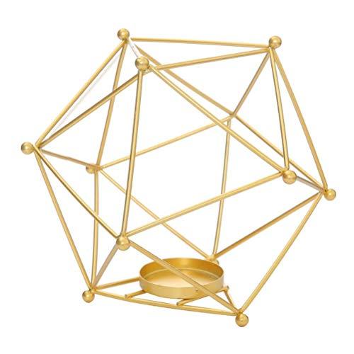 TiKiNi Portavelas 3D geométrico, hierro y metal, hueco, diseño sencillo, moderno, creativo, metal, artesanía, ofertas para el hogar, decoración para bar, boda, cumpleaños, dorado