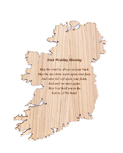 Biddy Murphy Irish Art on Map of Ireland Oak Engraved'May the Wind be Always' Long-Lasting Artisan Crafted in Ireland