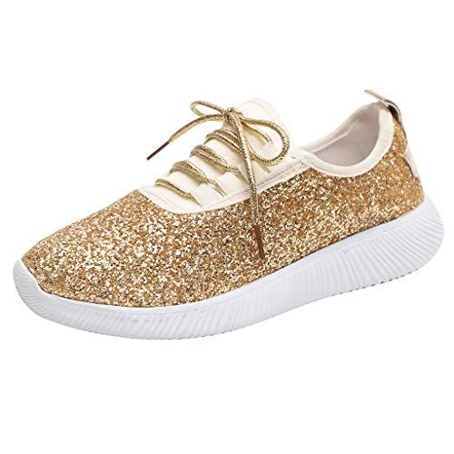 Luckhome Damen Schuhe Damen Sommer Damen Schuhe Sommer Warehouse Deals Fitness Frauen im Freien Sequined Tuch beiläufige Sportschuhe, die Breathable Schuh-Turnschuhe Laufen Lassen(Gold,EU:36)