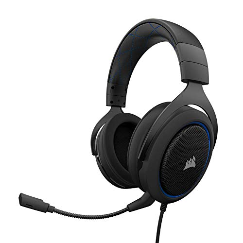 Corsair CA-9011172-EU HS50 Stereo Gaming Headset (PC, Xbox One, PS4, Nintendo Switch and Mobile Device Compatible, Memory Foam Earcups, 50 mm Neodymium Speaker Drivers, Optimised Unidirectional Microphone) - Blue