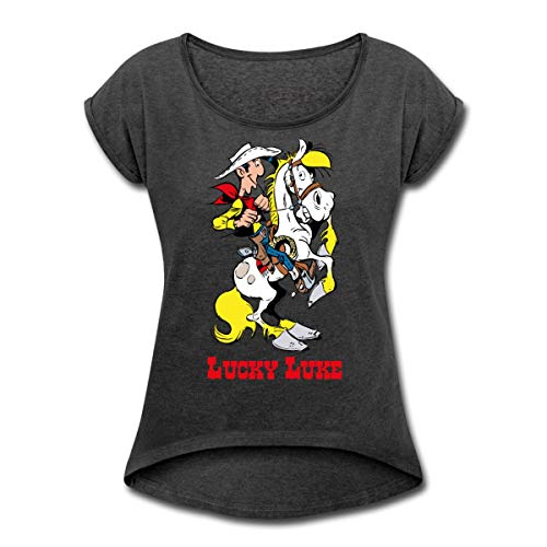 Lucky Luke mit Pferd Jolly Jumper Frauen T-Shirt mit gerollten Ärmeln, S, Schwarz meliert