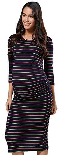HAPPY MAMA Damen Mutterschaft Muster Bleistift Midi Kleid Rundhalsausschnitt 782p (Marine und Streifen, 40, M)