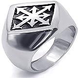 DZXCB Anillo Punk Gothic Rock Locomotora Mesal Mester Mystery Symbol Diamond All-Patch Jewelry,8