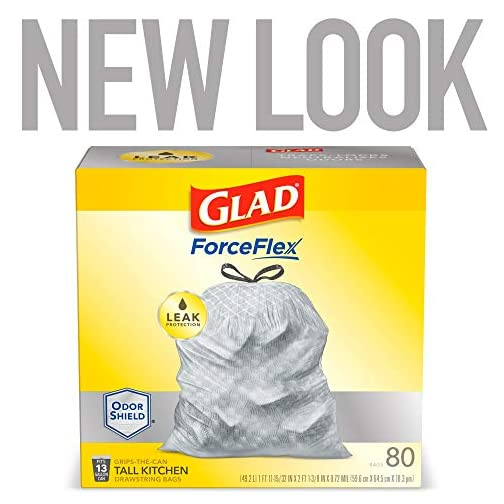 Glad ForceFlex Tall Kitchen Drawstring Trash Bags 13 Gallon Grey Trash Bag, Unscented 80 Count (Package May Vary) 10