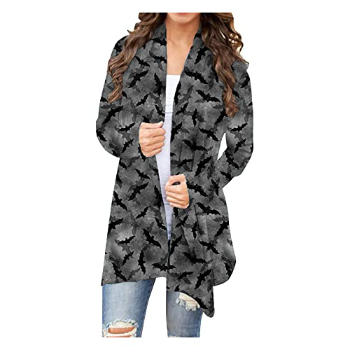 Womens Long Jacket Halloween Print Long Sleeve Open Front Cardigan Blouse Lightweight Coat Gray