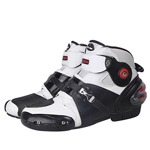 GYPING Botas Moto para Hombre Montar Botines Protectores Zapatos de Caballeros Transpirables Primavera Verano Ciclismo de Carretera al Aire Libre,White-43/UK 8.5