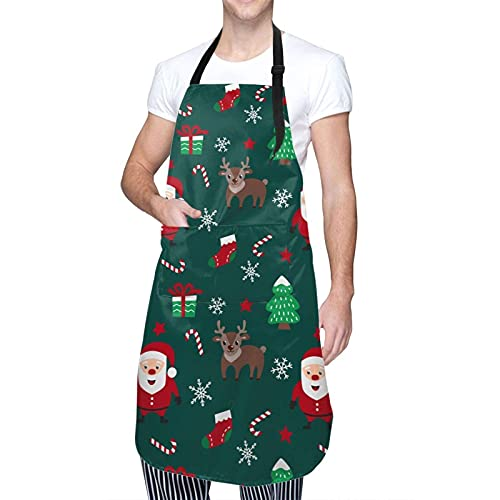 Christmas Santa Claus and Deers Adult apron for men and women with 2 pockets and extra-long tie water drop resistant adjustable kitchen apron