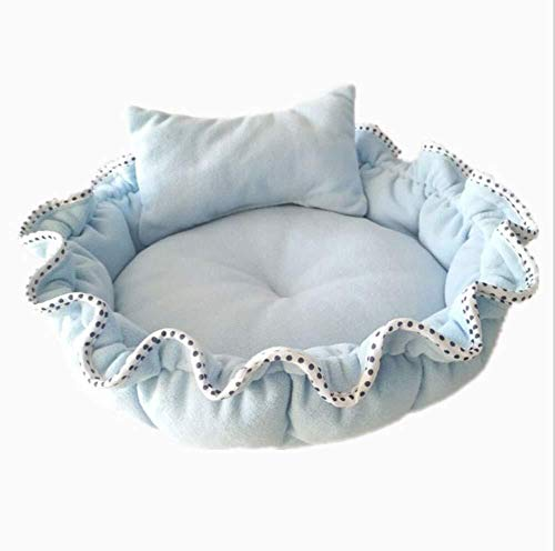 Cama de perro Cama para mascotas Fashian 2 en 1 colchoneta y cama para gatos, Warm House L, azul Adecuado para cachorros de gatos, cama para perros de nido de perros Cueva para perros Nido de gato Per