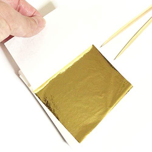 [Fumemo] 金箔 フェイク ゴールド イミテーション gold 金ぱく シート 美術 絵画 工芸 陶芸 ホビー 工作 金 メッキ 装飾 貼り 練習 塗装 補修 100枚 セット 竹 製 ピンセット 付き