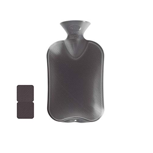 Fashy 35674.0 Wärmflasche 1er Pack ~ Thermoplast- Wärmeflasche Doppellamelle, geruchsneutral, recyclingfähig, robust und langlebig, fugenloser, schmaler Flaschenhals ~ 2,0 Liter, anthrazit