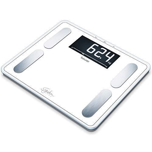 Beurer BF 410 white Diagnosewaage Signature Line, präzise Körperanalyse für bis zu 10 Personen, mit extra großem Invers-LCD-Display, Tragkraft bis 200 kg