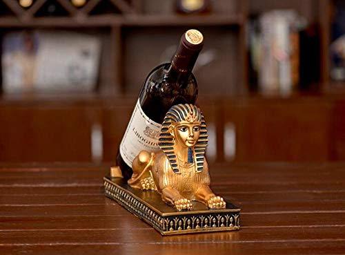 KUMOPYU Artesanía De Resina Egipto Faraón Sagitario Gato Esfinge Estante De Vino Estante De Vino Retro-león Vinotecas Copas De Vino botellero Estante De Vino Botellas De Vino Montaje En Pared