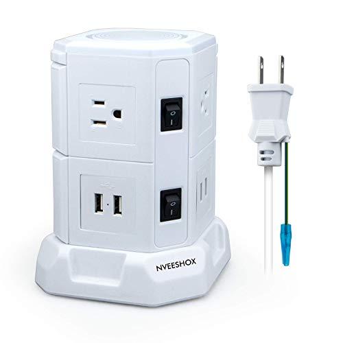 タワー 電源タップ usb コンセント 2層 6個AC口+4USBポートスイッチ付 延長コード 2m 省エネ急速充電 過負荷保護 oaタップ 雷ガード ホワイト PSE認証 NVEESHOX