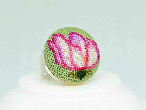 Yellow flower embroidered ring Cross stitch dainty jewelry Handcrafted nature floral birthday gift for her