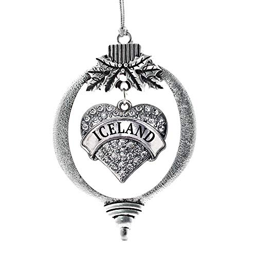 Inspired Silver - Iceland Charm Ornament - Silver Pave Heart Charm Holiday Ornaments with Cubic Zirconia Jewelry