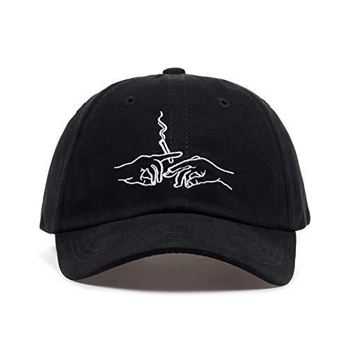 ZSQQ Smoke Baseball Cap Dad Hat for Men Women Embroidery Hands Smoke Pattern Trucker Cap Weed Bone Golf Baseball Hat Black