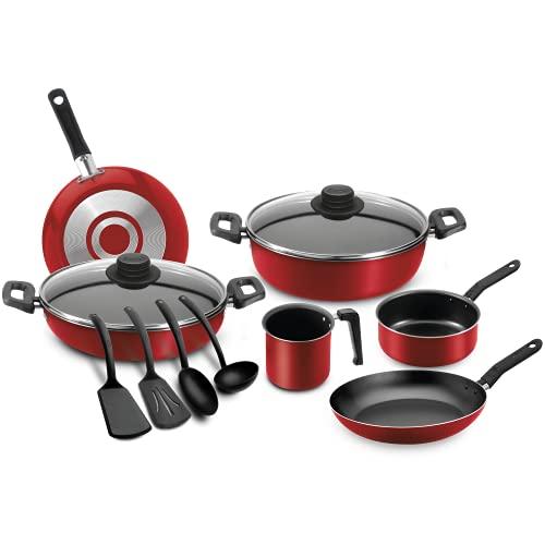 Ecko, Batería de Cocina con Antiadherente, Aluminio, 54090, 12 Piezas, con Espesor de 1.35 mm, Color Rojo