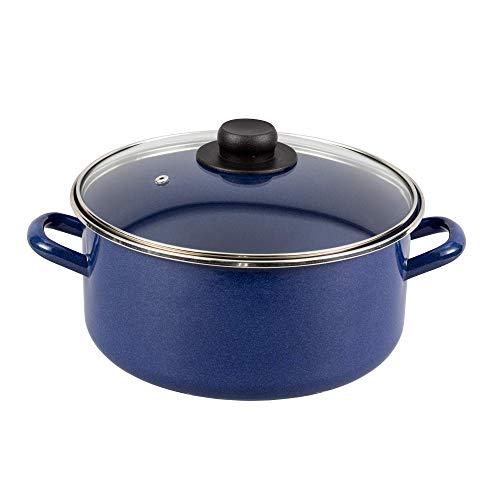 EKCO Cacerola con Tapa, Acero esmaltado de Vitroacero Duraflon PRO, Tapa de Vidrio, 87531, color Azul, 24 cm