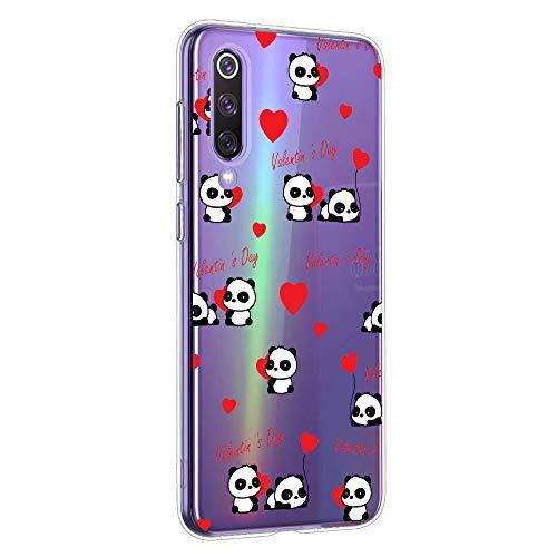 Oihxse Cristal Compatible con Xiaomi Mi 9T/Mi 9T Pro Funda Ultra-Delgado Silicona TPU Suave Protector Estuche Creativa Patrón Panda Protector Anti-Choque Carcasa Cover(Panda A7)