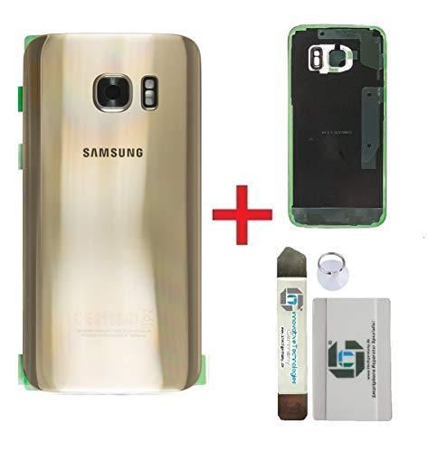 iTG® Original Akkudeckel Reparatur-Set für Samsung Galaxy S7 Gold (Gold Platinum) – Original Samsung Rückseite Batterieabdeckung für Modell SM-G930F + Vormontierte 3M Klebefolie + Werkzeug-Set