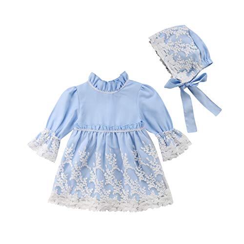 3 Piezas Vestidos de Bautizo Boda Fiesta de la Niña Vestido de la Flor del Encanje Falda de la Princesa del Cumpleaños para la Niña Falda + Chaqueta + Gorro Muchacha 0-18 Meses(Azul 110(1-2 años))