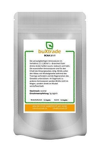500 g BCAA | 2:1:1 | geschmacksneutral | L-Leucin | L-Isoleucin | L-Valin | Muskelaufbau |