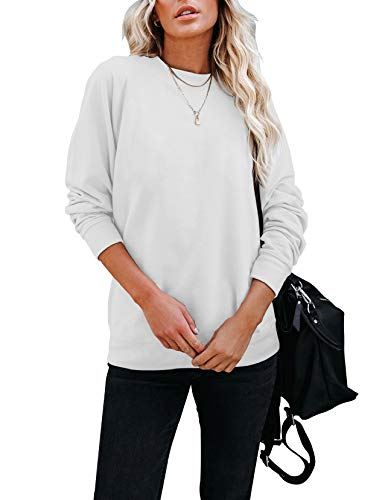 Hilltichu Women's Fall Long Sleeve Pullover Shirt Casual Round Neck Loose Tunic Tops White