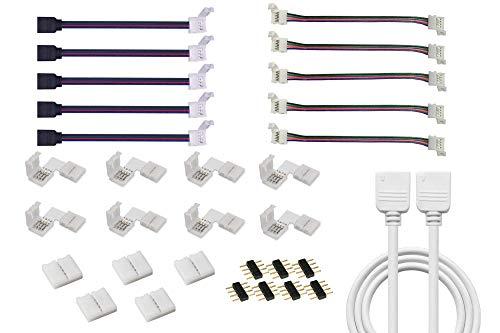 Cooligg LED Verbinder Set: 8x L Form Eckverbinder+ 1M Verlängerungskabel+ 10x Verbindungskabel (5x mit Clip, 5x mit Stecker)+ 5x Verbinder vom DE Händler, für LED Streifen RGB SMD 5050 4pin