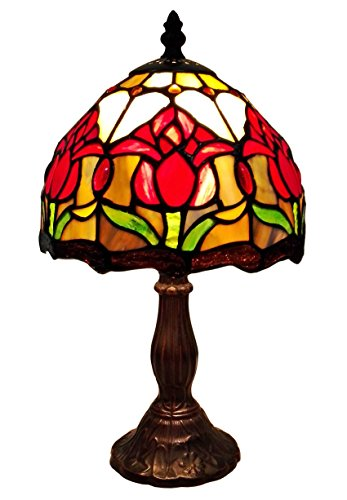 Tiffany Style Tulips Small Table Lamp 14 Inches High