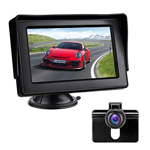 Telecamera Posteriore per Auto Telecamera di Retromarcia con Monitor LCD da 4,3', IP68 Impermeabile Fotocamera, Visione Notturna, Sistema di Assistenza al Parcheggio