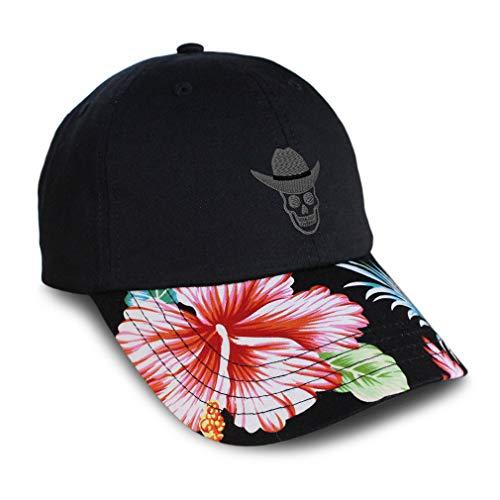 Custom Soft Hawaiian Baseball Cap Grey Cowboy Hat Skull Embroidery Cotton Flower Dad for Men & Women Strap Closure Black Design Only
