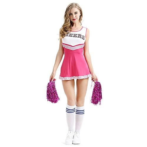 dytinine Donna Costumi Cheerleader scuola costume della ragazza sexy con La la Fiore donne Cosplay Halloween medio Rosa