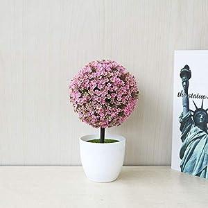 Silk Flower Arrangements Home Decoration Desktop Simulation Plant Mini Grass Ball Bonsai Decorated Plastic Flower Cherry Blossom Snowball Artificial Flowers (Green) (Color : Pink)