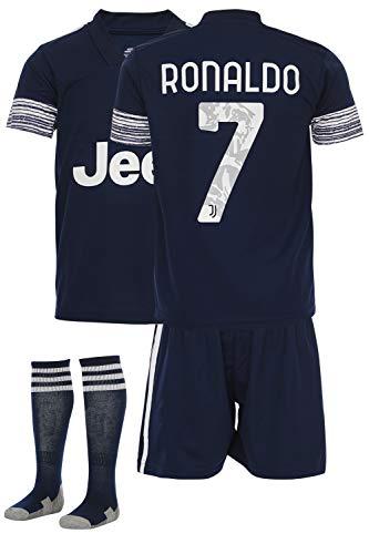 GamesDur Ronaldo # Fußball Trikot Kinder 20-21 Fussball Kinder Set Juve (für 3-14 Jahre) (kommt mit Socken und kurz)… (Ronaldo Auswarts, 140)