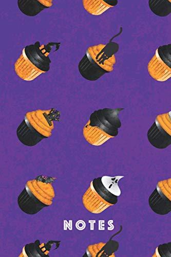 Notas: Notas de Halloween, Cuaderno de galletas de bizcocho, Tapa de libro en rústica de dulces, Tamaño 6x9, A5, 100 páginas de papel de punto, color blanco, (Spanish Edition)