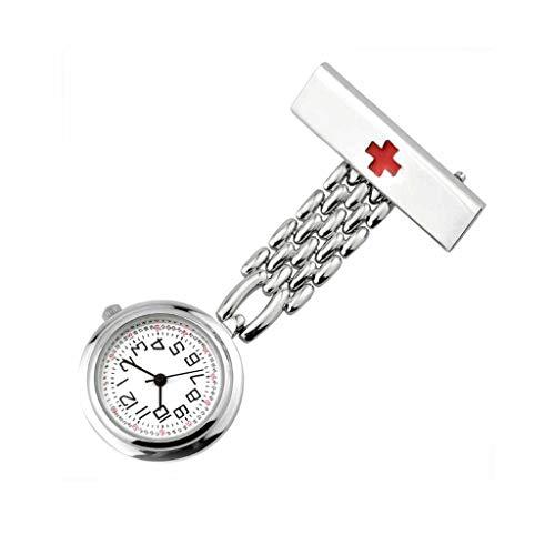 XNdlrb Krankenschwester-Taschen-Uhr-Quarz-Bewegung Batteriebetriebene Krankenschwester Revers Pin-Uhr Clip Art Medical-Taschen-Uhr (Color : Silver, Size : 7 * 2.7 * 1cm)