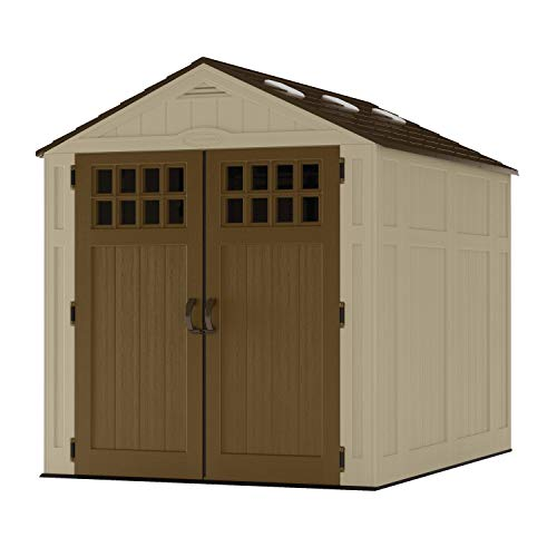 Suncast 6' x 8' Heavy-Duty Resin Storage Shed, Sand