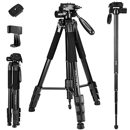 75-Inch Camera/Phone Tripod, Aluminum Tripod/Monopod Full Size for DSLR with 2 Quick Release Plates,Universal Phone Mount and Convenient Carrying Case Ideal for Travel and Work - MH1 Black