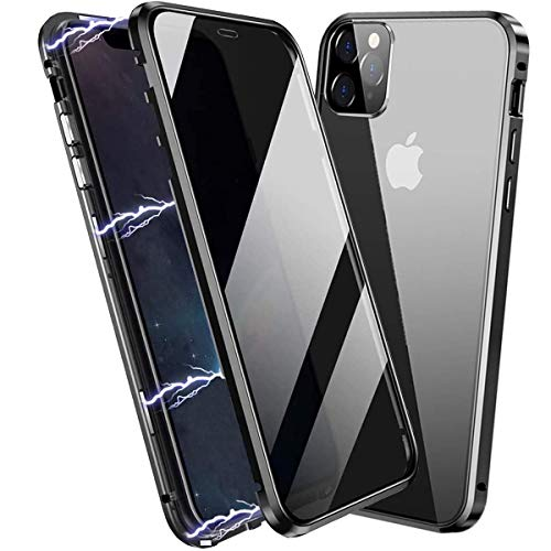 Privacy Magnetic Case for iPhone 11 Pro Max, Anti Peep Magnetic Adsorption Privacy Screen Protector Double Sided Tempered Glass Metal Bumper Frame Anti-Peeping Anti-Spy Phone Case for iPhone 11 ProMax