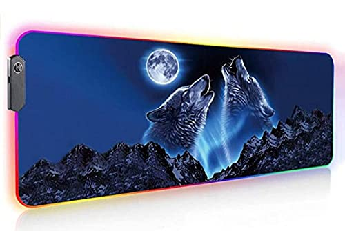 Gaming Mouse Pads Gaming RGB Large Led Wolf Animal Game Desk Mat Gamer Accessories Keyboard Pad Non-Slip Rubber Base with Backlit 39.4x19.7 inch