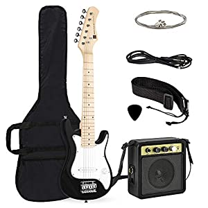 Best Choice Products 30in Kids Electric Guitar Beginner Starter Kit w/ 5W Amplifier, Strap, Case, Strings, Picks - Black