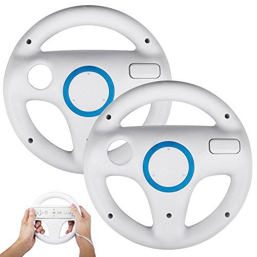 Wii Volante, STOGA controlador de Wii genérico para Nintendo Mario Kart Controlador de juego de volante de carreras para juegos de Wii de control remoto - Blanco (2 piezas)