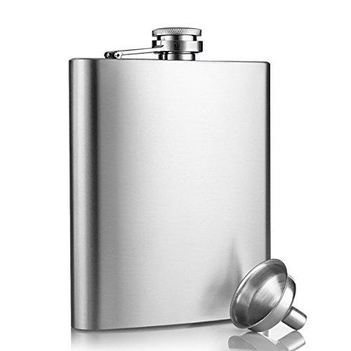 Fiaschetta acciaio, innislink Fiaschetta in acciaio inox Fiaschetta per whisky, escursione, viaggio 8oz/227ml argento
