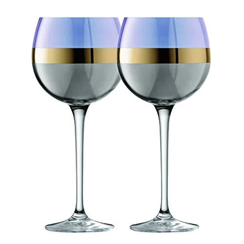 Bicchieri da Vino in Vetro Fatti A Mano Bicchieri da Vino Creativi Bicchieri da Vino di Lusso con Bordo in Oro Chiaro per Uso Domestico Soffiati A Mano (Color : Purple, Size : 10.5 * 22.5cm*2)