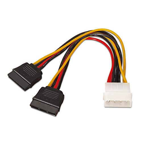 AISENS A131-0161 - Cable SATA Alimentación (MOLEX 4pin/M-2xSATA Hembra, 20 cm) Color Negro