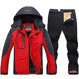 Traje de esquí de Invierno para Hombres Cálidos Chaquetas de Nieve y Pantalones Hombre Ski Snowboard Chaqueta Red Black Asian 3XL EUR XL